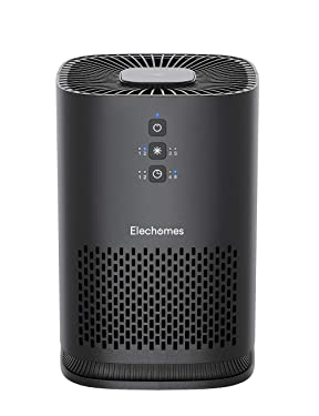 Elechomes EPI081 Air Purifier for Home Allergies Pollen Dust Pet Dander Smokers, Upgrade H13 True HEPA Filter with 4-Stage Filtration, Efficient Air Cleaner (99.97%), Odor Eliminators, 100% Ozone Free, Black