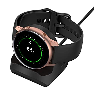Stand for Samsung Galaxy Watch 3 41mm 45mm/ Active 2 40mm 44mm/Galaxy Watch Active 40mm,Non-Slip Silicone Charging Dock Holder,Charger Bracket with Integrated Cable Management Slot (Black)