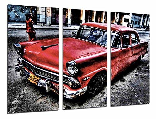 Cuadro Fotográfico Coche Clasico Rojo en Cuba, Vintage Tamaño total: 97 x 62 cm XXL