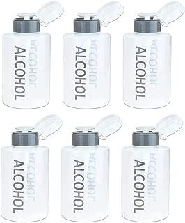 Beauticom 12 Oz Alcohol Labeled Liquid Push Down Pump Dispenser Bottle with Flip Top Cap (Gray) (6pcs)