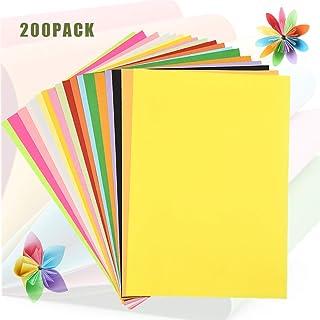 200 Hojas Papel A4 de Colores, WEONE Origami para Niños, Papel Multicolor de Doble Cara para Papiroflexia Manualidades Bri...