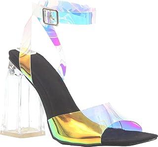 أحذية ستاتيك للنساء شفافة مكتنزة كعب عالٍ شفاف بأربطة مفتوحة الأصابع