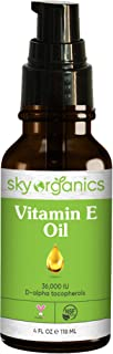 Vitamin E Oil 36,000 IU by Sky Organics (4oz) Certified Organic Vitamin E Oil, Moisturizing Treatment Oil with Jojoba & Ro...