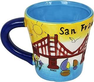 San Francisco Coffee Mug Hand Painted Yellow Trumpet Shaped 11 Ounces
