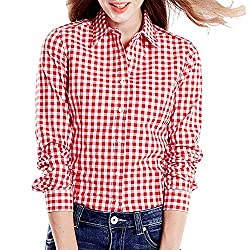 Womens Red and White Casual Checkered Shirt by Adiba