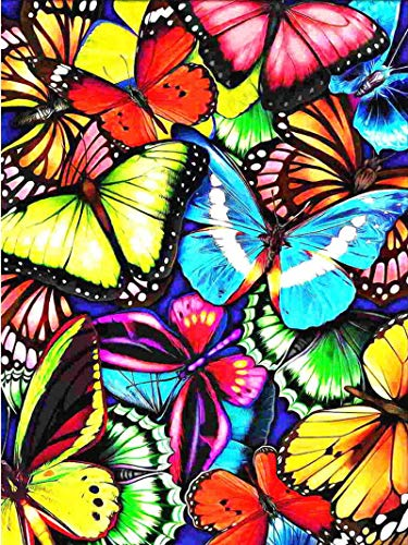GGICO DIY 5d Diamond Painting Kits for Adults Beginner,Paint with Diamonds Full Drill Rhinestone Crystal Cross Stitch Home Wall Decor Gift (Butterfly 16 x 12 inch)