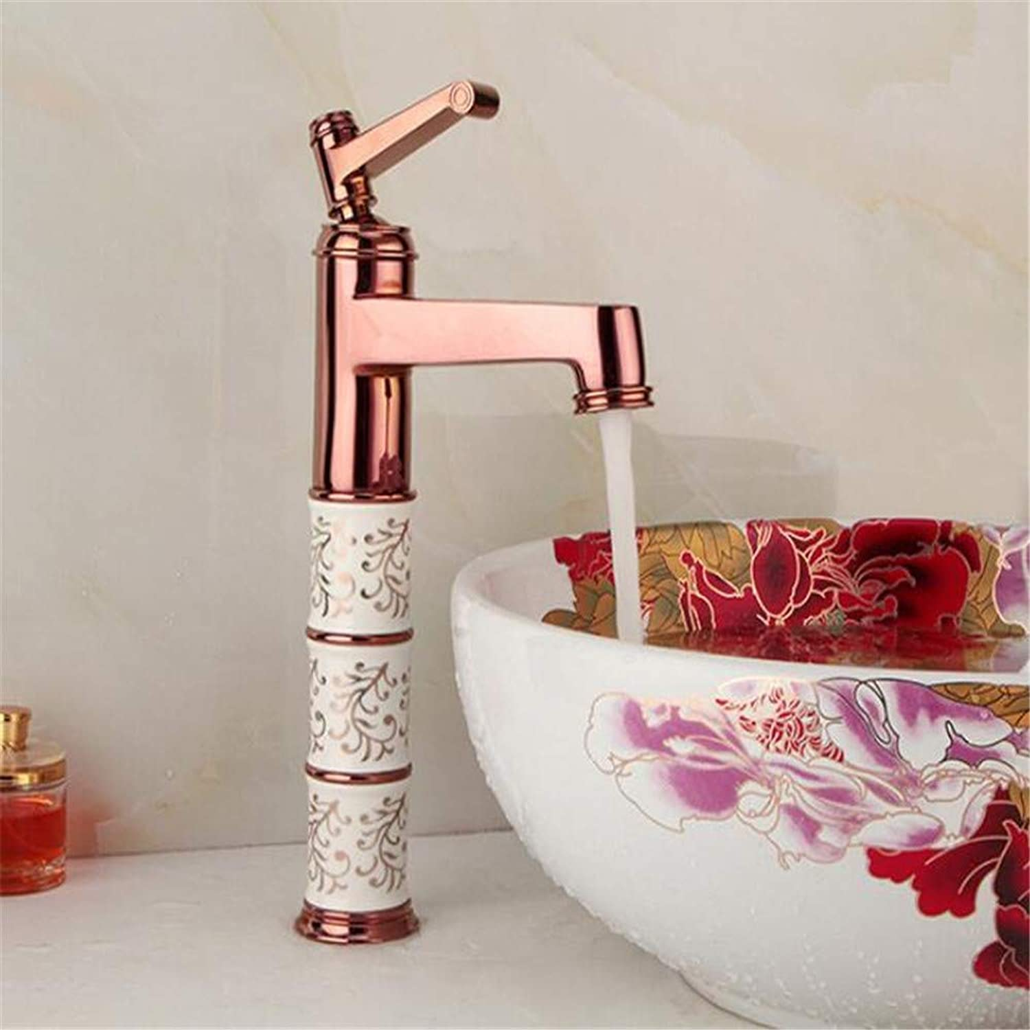 Faucetbasin Mixer Tap European Faucets All Copper Mixed Water Faucets pink gold Cold and Hot Single Hole Faucet Household Basin Faucet.