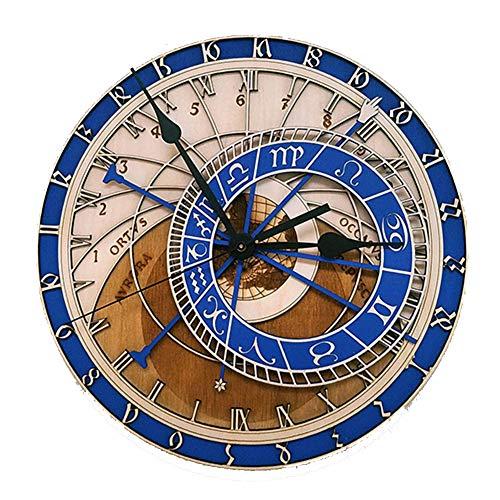 JYMBK Astronomische Uhren,zwölf Sternbilder Kunst Uhr,runde Leise Quarz Uhren,kreativ Wohnzimmer Wanduhr,Holz Große Wanduhr Blau 30cm(12inch)