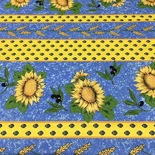 Tela por metros de sábana estampada - Algodón y poliéster - Retal de 300 cm largo x 270 cm ancho | Provenzal. Girasoles y olivas - Azul - 3 metro