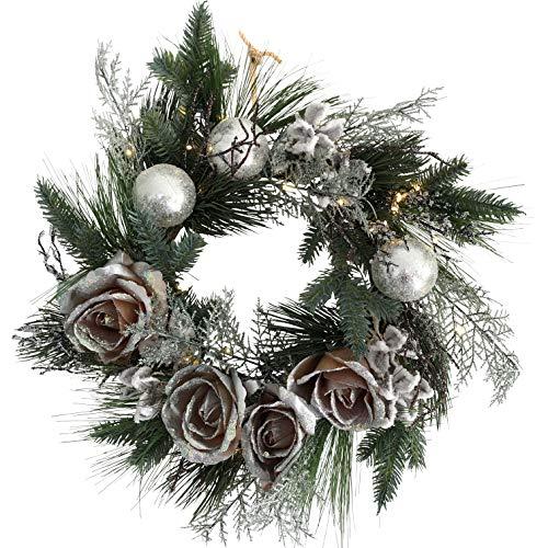 OF Türkranz, Weihnachtskranz mit 50 warmweißen LED Lichterkette und Timer - Batteriebetrieben - Adventskranz (Silberne Rosen)