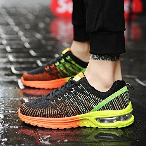 Zapatos de Running Para Hombre Zapatillas Deportivo Outdoor Calzado Asfalto Sneakers Negro Naranja 41