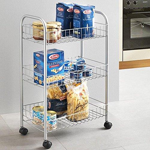 Bakaji Carrito Cocina carro carro multiusos Puerta Frutas portaverdura Almacenamiento carro Salvaspazio de metal con 3 cestas rectangulares 4 ruedas para el transporte Muebles Baño
