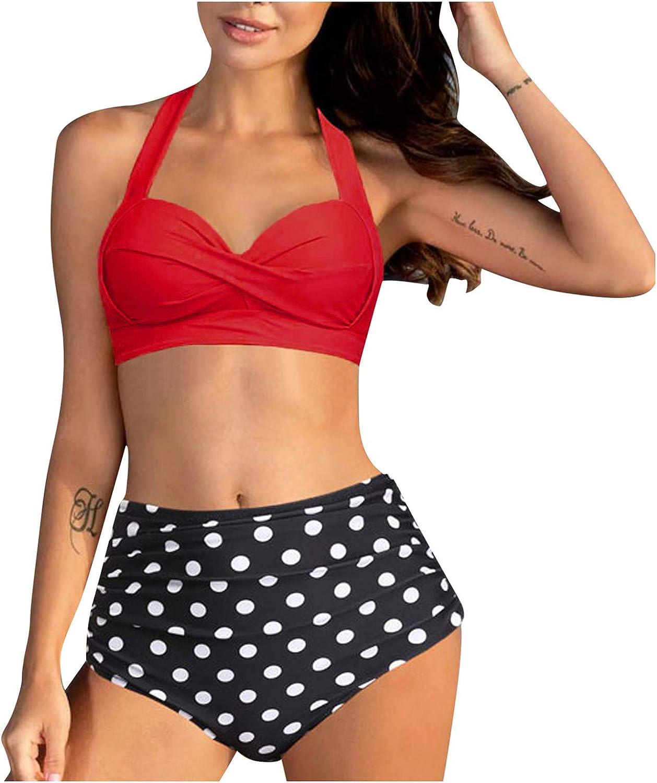 Tuscom Plus Size Swimsuits 2 Piece Swimsuit Retro Halter High Waist Printed Bikini Set