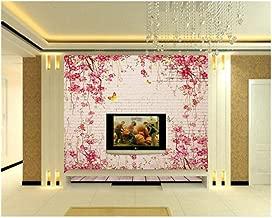 3D Wallpaper Mural Brick Wall Background Pastoral Vine Rose Decoration 3D behang Wallpaper