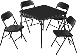 5-Piece Card Table and Chairs Set Folding Padded Table Set for 4 Card Table Chairs Home Kitchen Dining Room, Vinyl Upholst...