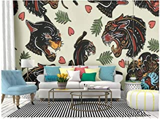 Self Adhesive Wallpaper Roll Paper Black panthers seamless Old school tattoo style Wild cats and red Removable Peel and Stick Wallpaper Decorative Wall Mural Posters Home Covering Interior Film
