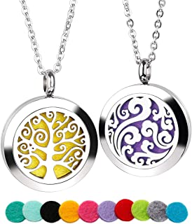 GoorDik 2 Pack Aromatherapy essential oils diffuser necklace jewelry, Cloud/Tree of Locket Pendant, 316L Stainless Steel Necklace, 24