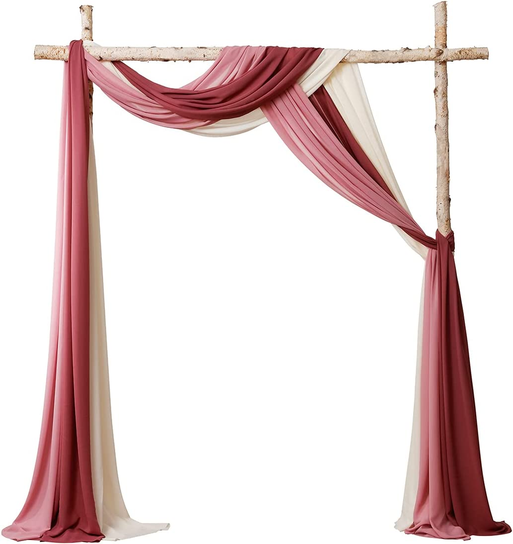 Floroom Wedding Arch Draping Fabric 3 Panels 18Ft Chiffon Fabric Drapes Arbor Drapery Wedding Ceremony Reception Swag Decorations (Burgundy + Mauve + Ivory)