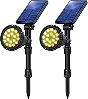 OSORD Solar Lights Outdoor, Upgraded Waterproof 18 LED Solar Landscape Lights Solar Spotlight Yard Night Light Auto On/Off Landscape Lighting for Garden Wall Pathway Driveway Pool, 2 Pack (Warm White)