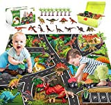 FANURY Dinosaur Toys,12 Dinosaur Figures w/ Activity Play Mat, Trees & Pull Back Dinosaur Cars Including T-Rex, Triceratops, Dinosaur Gifts for 3 4 5 6 7 Years Old Kids Boys Girls (4  Dinosaur)