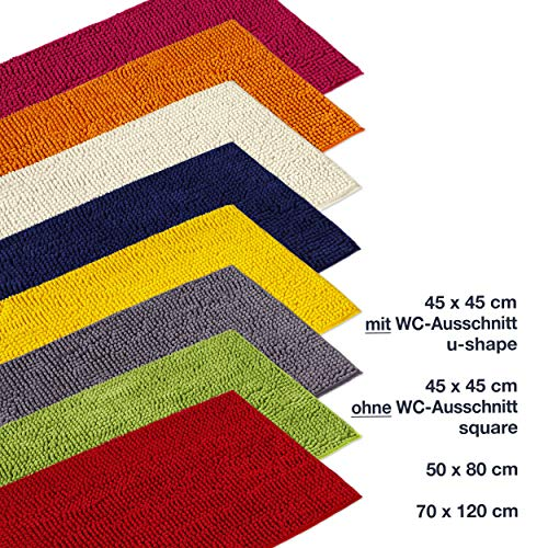 WohnDirect Badematte Grau • Badezimmerteppich zum Set kombinierbar, rutschfest & Waschbar • Badvorleger, WC Garnitur, Badteppich • OHNE WC Ausschnitt • 45x45cm