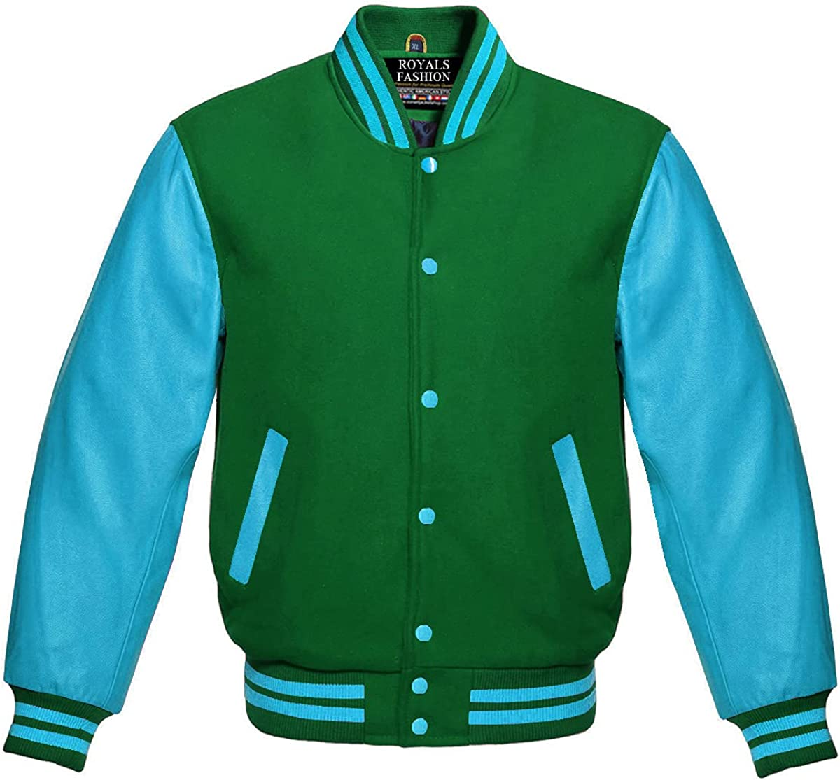Free shipping Green Wool and Sky Blue Leather Spasm price American Genuine Bomber Sleeves
