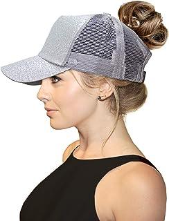 c0451467a45 FADA Glitter Ponytail Baseball Cap High Ponytail Hat Women Messy Buns Mesh  Ponycap Dad Hat