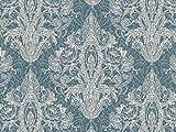 Vorhangstoff Samt Dinastia Ornamente Barock Silber blau