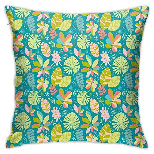 Funda de almohada, funda de almohada de la selva caribeña Miami funda de cojín moderna, decoración cuadrada para sofá, cama, silla, coche, 45,7 x 45,7 cm