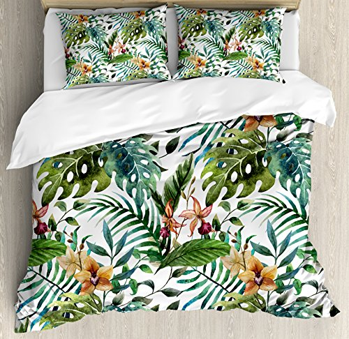 Ambesonne Leaf Duvet Cover Set, Vintage Retro 60s Seem Banana Palm Tree Leaves Flowers Hibiscus, Decorative 3 Piece Bedding Set with 2 Pillow Shams, King Size, Caramel Burgundy