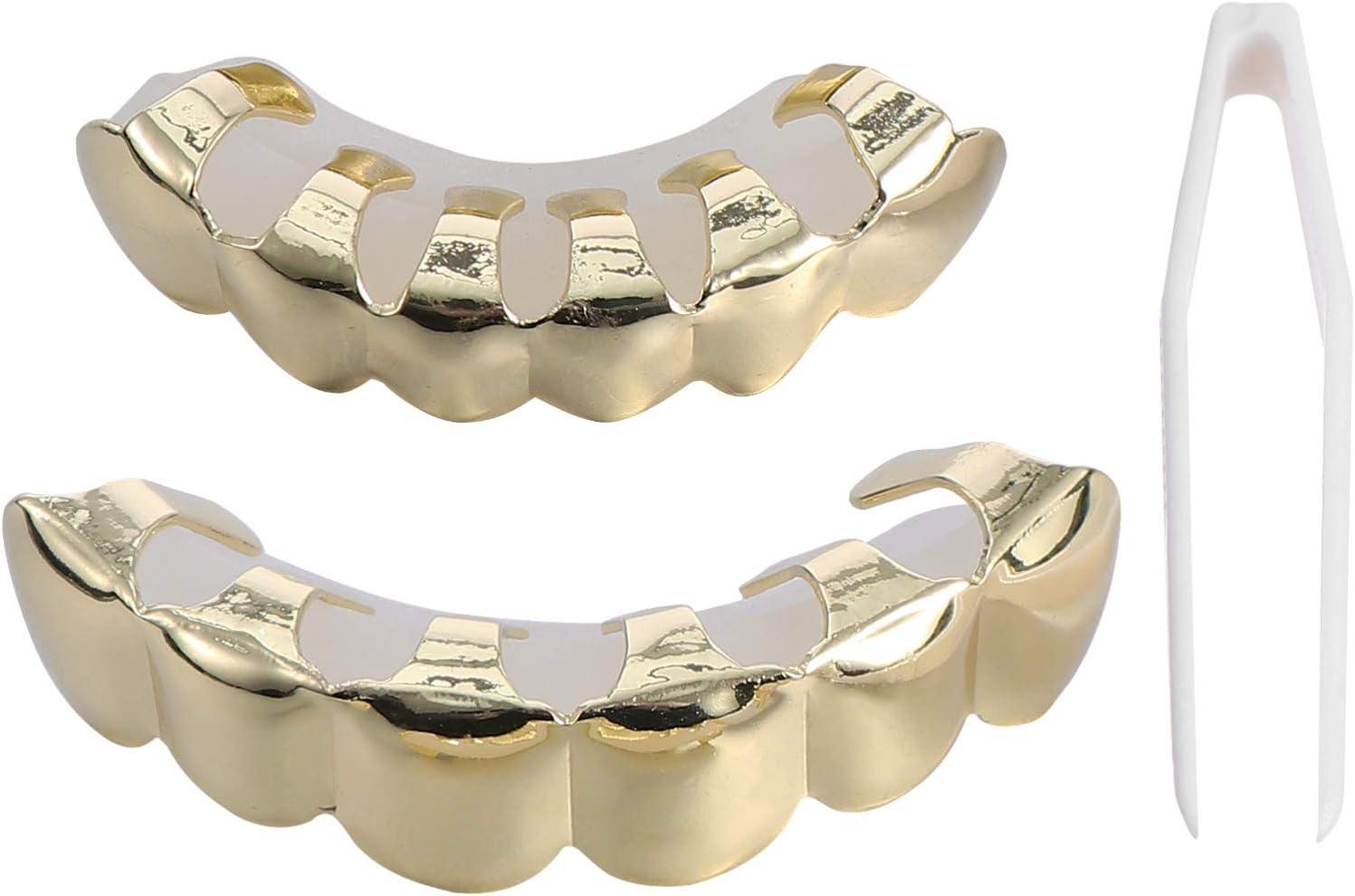 ARTIBETTER 1 Set Hip Hop Teeth Grill Decoration Metal Golden Plated Tooth Cap for Men Women Cosplay Accessory