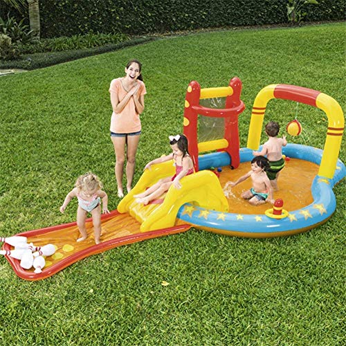 AJH Piscina Inflable para niños Toboganes inflables Piscina Infantil de PVC con Bolos Ocean Ball y Bomba Inflable para jardín al Aire Libre Patio Trasero - 435 x 213 x 117 cm