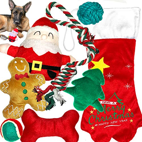 Jalousie Valentine's Day Toys for Dogs - Dog Squeaky Toy and Rope Toy Bundle (Christmas Toys Combo B)