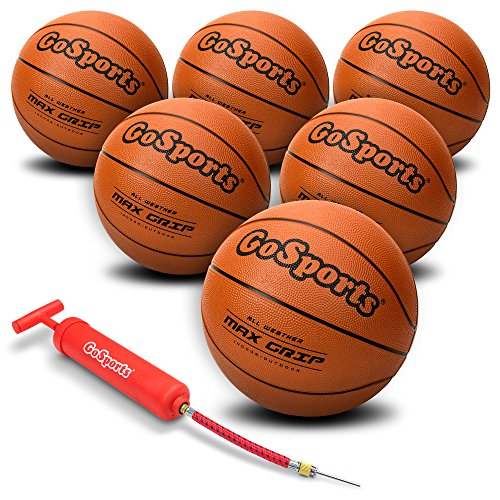 Check Out This GoSports Indoor / Outdoor Rubber Basketballs - Six Pack of Size 6 with Pump & Carryin...