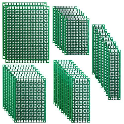 ELEGOO 32pcs PCB Prototype Carte de Circuit Imprimé à Double Faces pour Board DIY 5 Tailles[2X8cm 3X7cm 4X6cm 5X7cm 7X9cm]