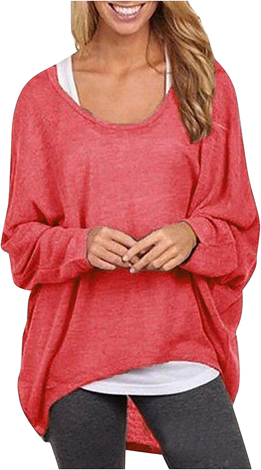 Batwing Sleeve Sweater for Women Loose Oversized Baggy Tops Pullover Casual Blouse T-Shirt