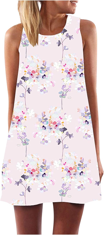 Toeava Women Dresses, Women's Casual Fashion Flowy Plant Print O Neck Tank Swing Dress Sleeveless Beach Party Mini Dress