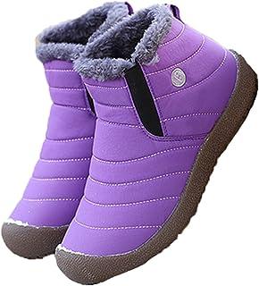 LangfengEU Couple Hiver Chaud en Peluche Bottes de Neige en Plein air sans Lacet sur Haut Chaussures décontractées Marche ...