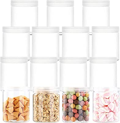 15 PCS 6oz Clear Plastic Round Storage Jars,Empty Clear Slime Containers,Wide-Mouth Plastic Containers Jars for Beads,Jewelry,Jam and Honey Storage