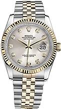 Rolex Datejust 36 Steel Yellow Gold Watch Steel Silver Diamond Dial 116233