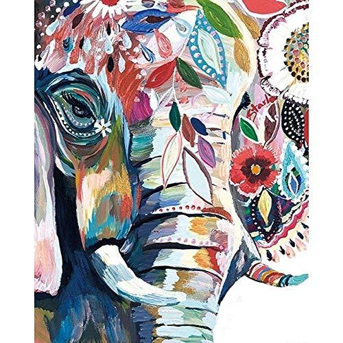 mlpnko Abstrakte Elefantentier DIY Digitale Malerei Kunst Leinwand Weihnachten einzigartiges Geschenk nach Hause 40X50cm Rahmenlos