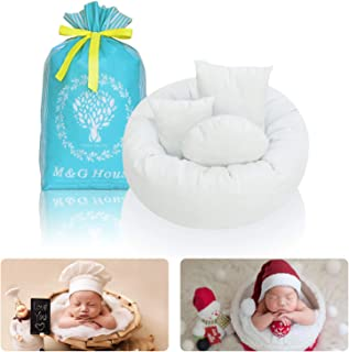 4PC Newborn Photo Props | Baby Photography Basket Pictures | Baby Shower Gift | Infant Posing Props (1 Photo Donut and 3 Posing Pillows)