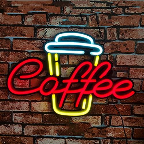 Letrero de Neón con Logotipo de Café Letreros de Neón Led Para Decoración de Paredes Tablero de Chevron en La Parte Posterior Tira de Luz de Neón LED en La Superficie Luminosa el Cordón de La Lámpar