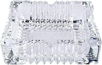 JASVIC Cenicero; Cenicero Grande Cuadrado de Cristal para Cigarrillos; Cenicero Grande para Exterior Restaurante 20,5 x 20,5 cm Interior decoraci/ón