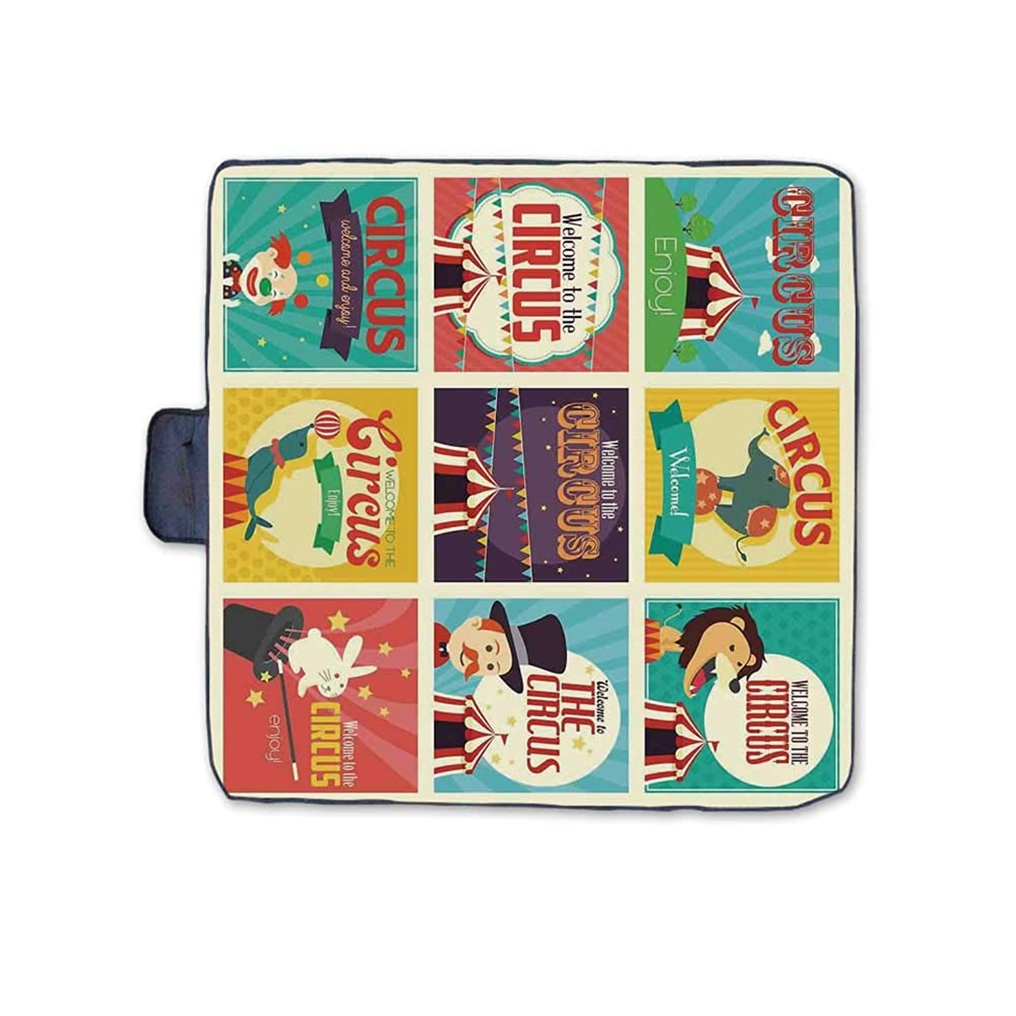 TecBillion Circus Decor Outdoor Picnic Blanket,Collection of Old Circus Icons Carnival Magicians Old Fashioned Nostalgic Festive Artsy Print Mat for Picnics Beaches Camping,58