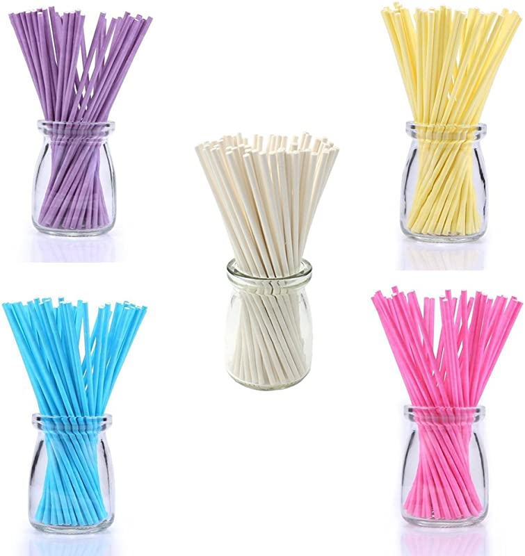 100pcs 6inch Colored Lollipop Sticks For Cake Pops Apple Candy 5 Clolors Blue Yellow Pink Purple White
