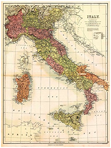 """MAP of ITALY, SARDINIA & SICILY by J. Bartholomew circa 1890 - measures 32"""" high x 24"""" wide (813mm high x 610mm wide)"""