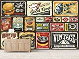 Fotomural Vinilo Pared Matriculas Antiguas | Fotomural para paredes | Mural | Vinilo Decorativo | Varias Medidas 100 x 70 cm | Decoración comedores, salones, habitaciones.