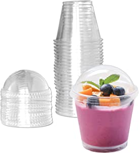 Clear Plastic Cups with Lids,6oz-25 Sets Mini Parfait Cups with No Holes Dome Lids,Parfait Cups with Lids, Disposable Party Cups for Fruit/Ice Cream/Cupcake/Iced Cold Drinks