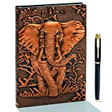 """Taccuino vintage 3D in pelle goffrata con penna dorata, A5, 200 pagine, blocco note giornaliero, diario di viaggio e taccuino per scrivere, regalo per donne e uomini A5(8.4""""*5.7"""") Elefante (Bronzo)"""